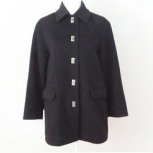 Evan Picone Black Wool Pea Coat w/ Silver Toggles